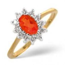 9K Gold Diamond Ring 0.18ct FIRE Opal