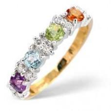 9K Gold Diamond Ring 0.15ct Multi